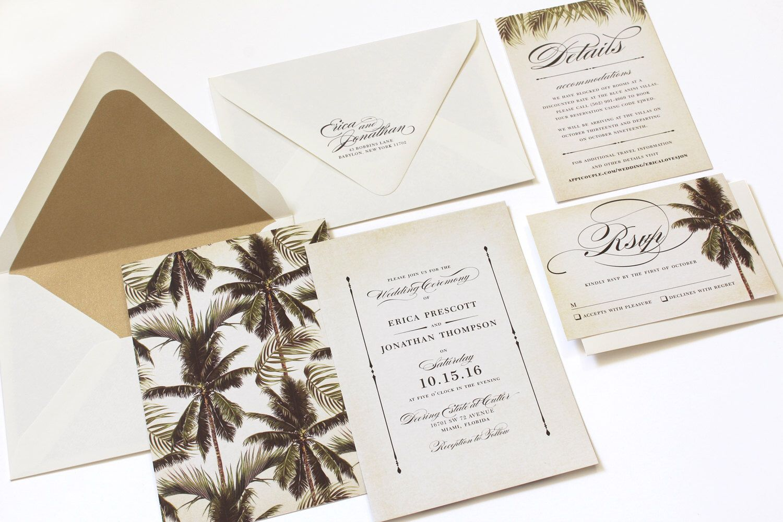 Vintage beach theme wedding invitations