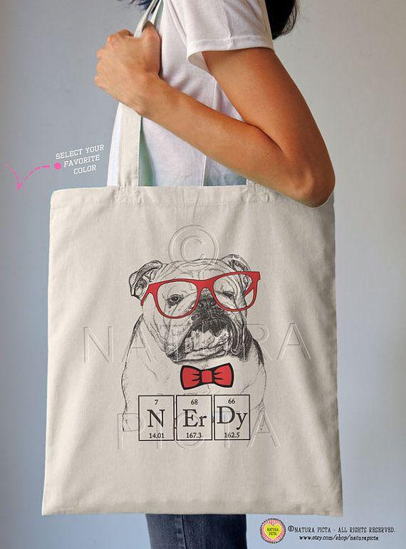 650bd533dde English bulldog nerdy tote bag-funny dog tote bag-bulldog tote bag-school  bag-tote-funny bag-nerdy tote bag-quote tote-NATURA PICTA NPTB022