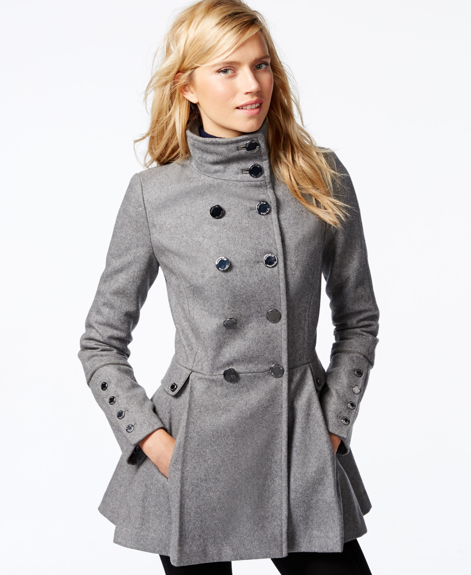 Calvin Klein Stand-Collar Skirted Peacoat - Coats - Women - Macy's