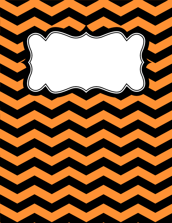 Free Printable Orange And Black Chevron Binder Cover Template