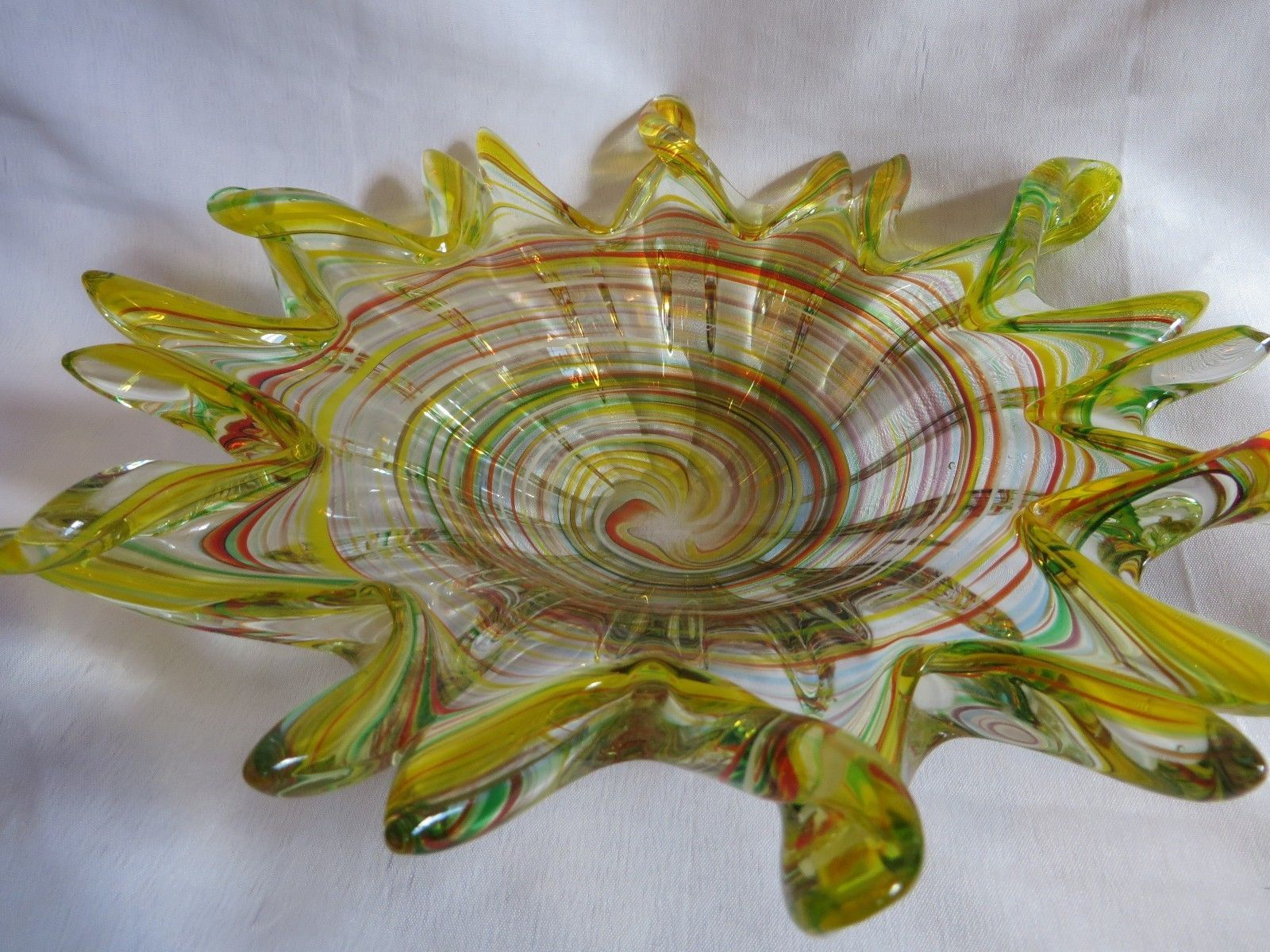 "Hand blown End of the Day Glass Art Platter Bowl Wall Hanging Marano Style 11"" picclick.com"