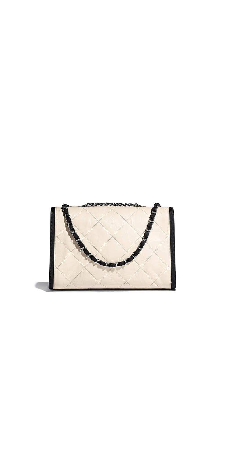 72b0411cccb81e Flap bag, grained crumpled calfskin & silver-tone metal-ivory & black -  CHANEL