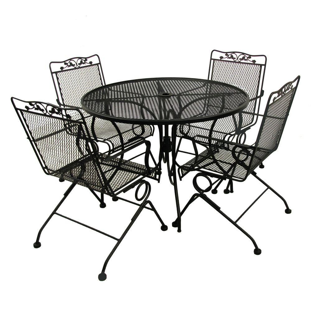 Arlington House Glenbrook Black 5 Piece Patio Dining Set 7871742 0505000 The Home De Patio Dining Furniture Wrought Iron Patio Furniture Iron Patio Furniture