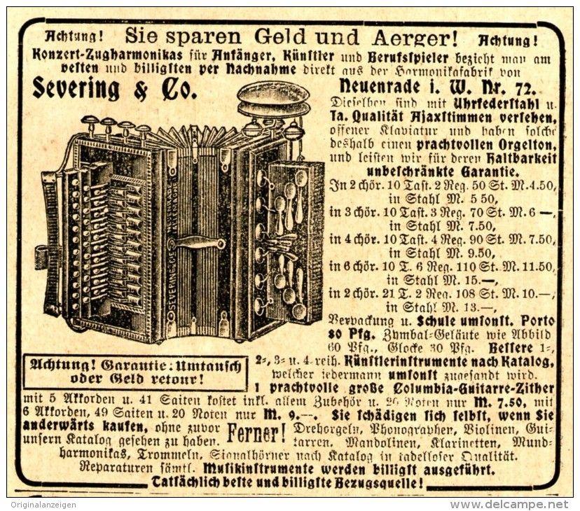 Original-Werbung/ Anzeige 1907 - KONZERT-ZUGHARMONIKA / SEVERING & CIE. NEUENRADE - ca. 90 x 75 mm