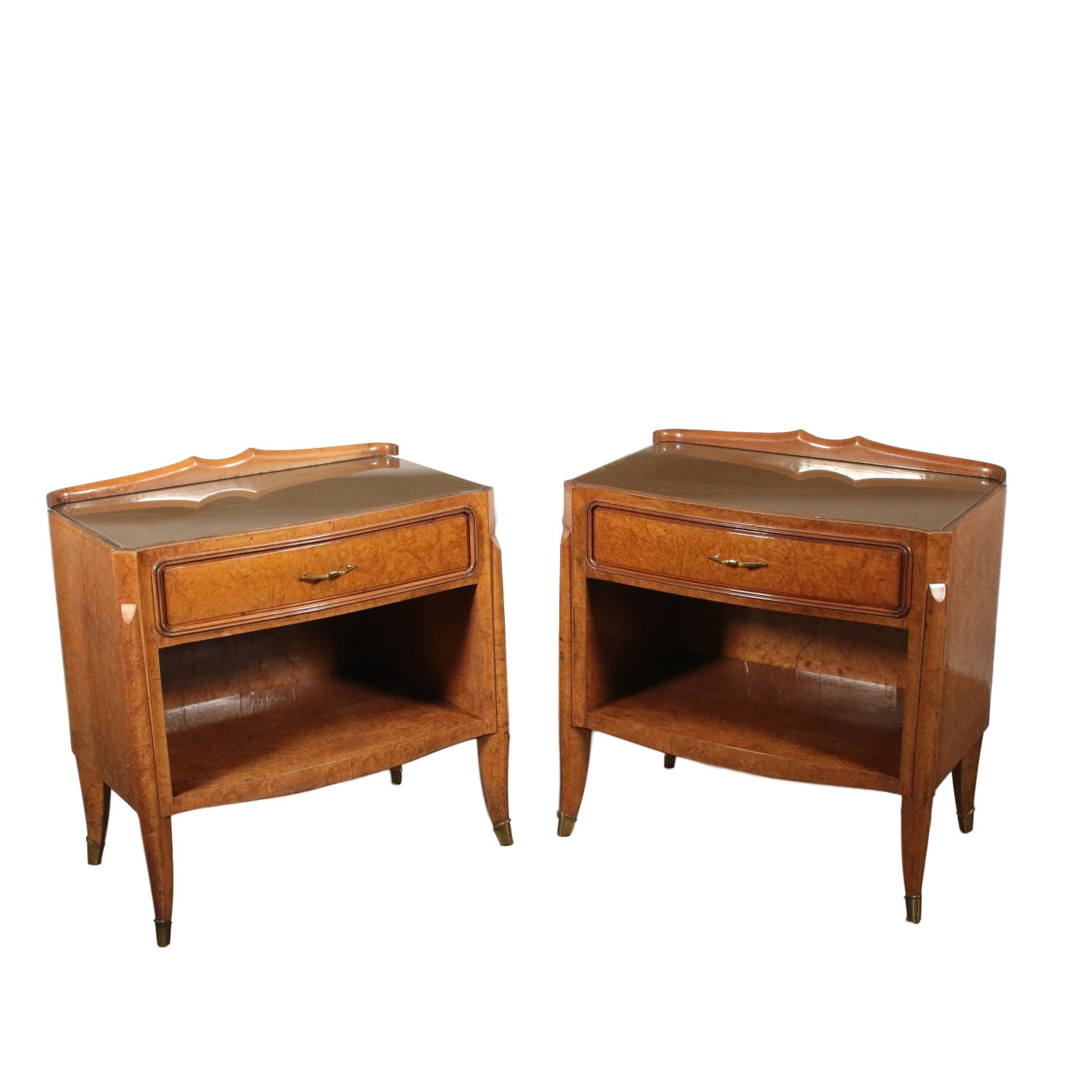 Pair Of Nightstands With In 2020 Vintage Italy Oak Nightstand