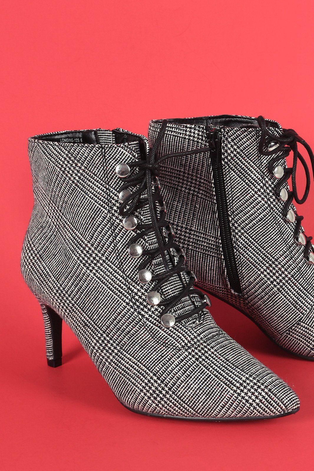 237845fada93 Womens Fashion Ankle Boots - Bamboo Houndstooth Pointy Toe Lace-Up Stiletto  Booties