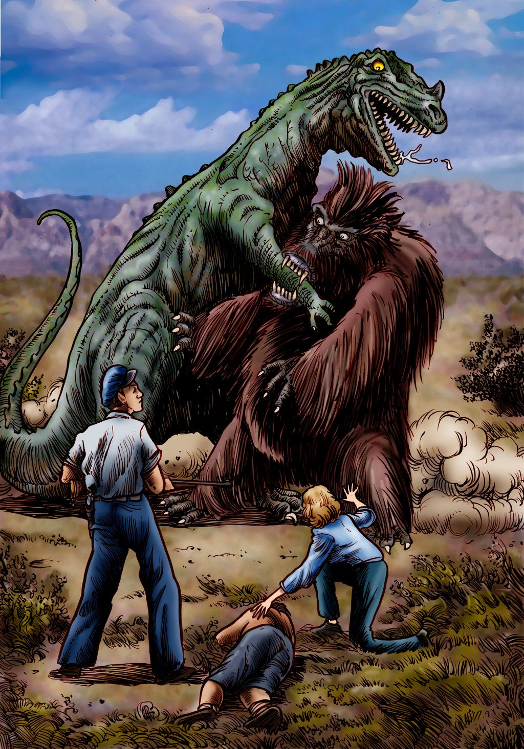 Artists depiction of the titanic dinosaur vs giant sloth battle in ...