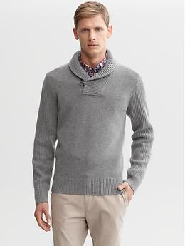 Rick Shawl Collar Wool Pullover Grey Any Neutral Colored Dress