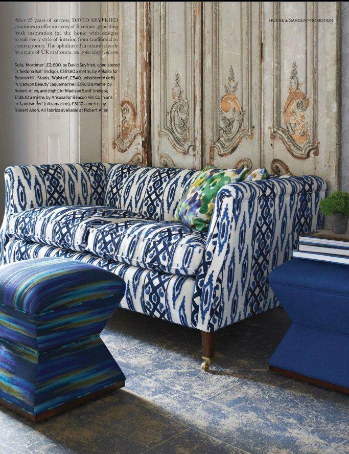 Sapphire Blue Ikat Pattern Couch Luxury Sofa Fabric