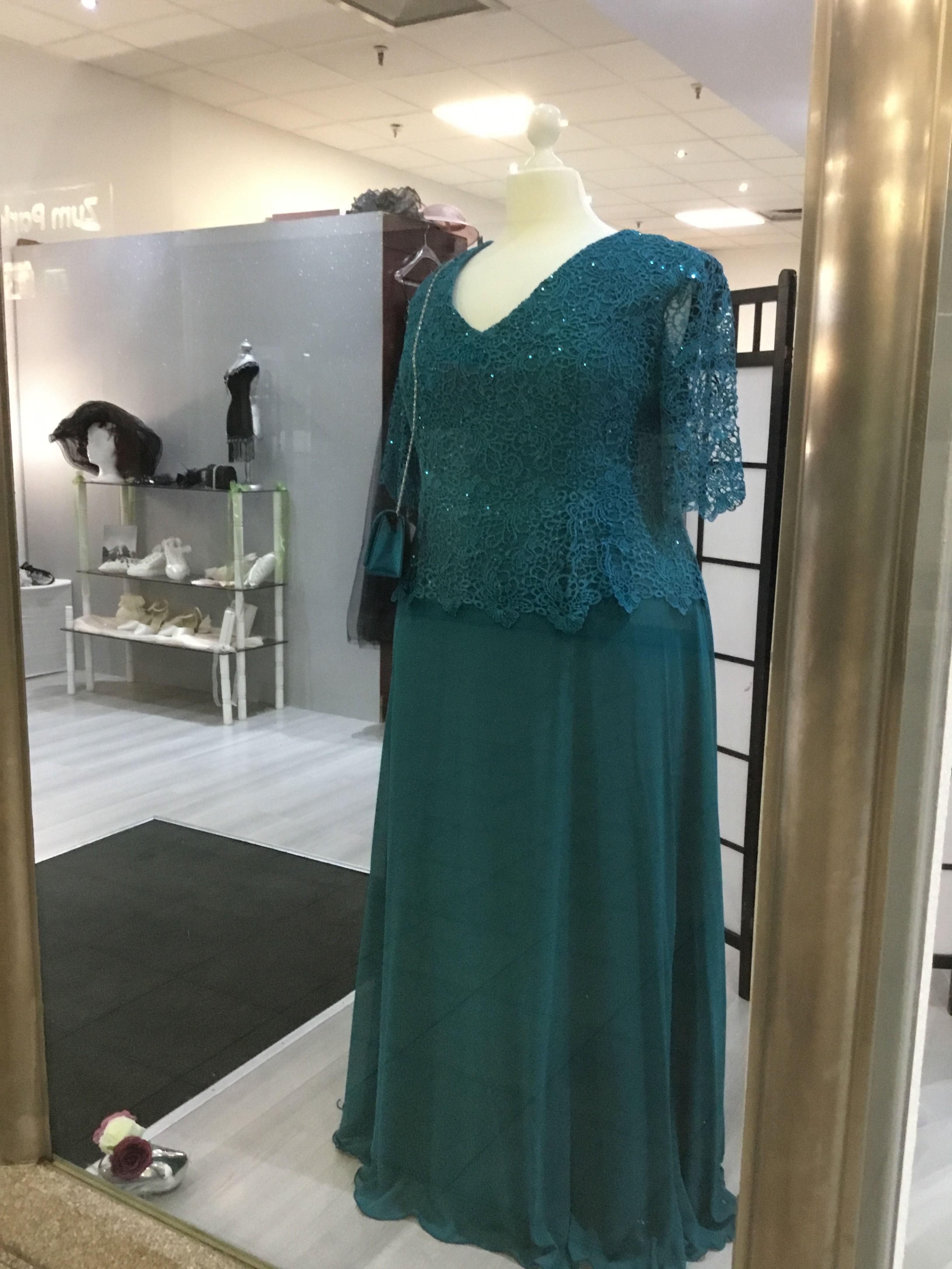 Abendkleid aus Chiffon mit Spitze in der Farbe Petrol Gr ...
