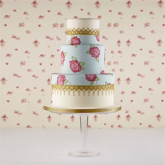 Tea Rose Cake – Inspired by Fortnum's tea range and romantic roses. Flowers are hand painted directly onto the mid-tier of the cake.Available at Fortnum