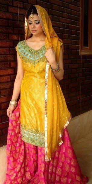 25a918227 Yellow green and pink mehndi sharara