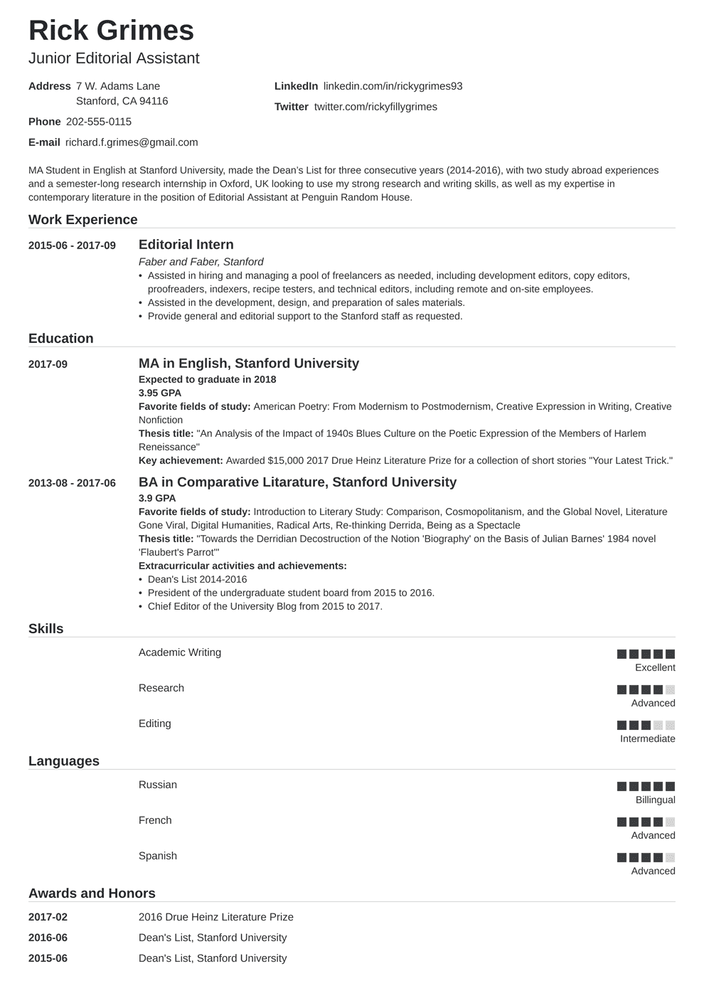 Internship Resume for College Students Guide (+20
