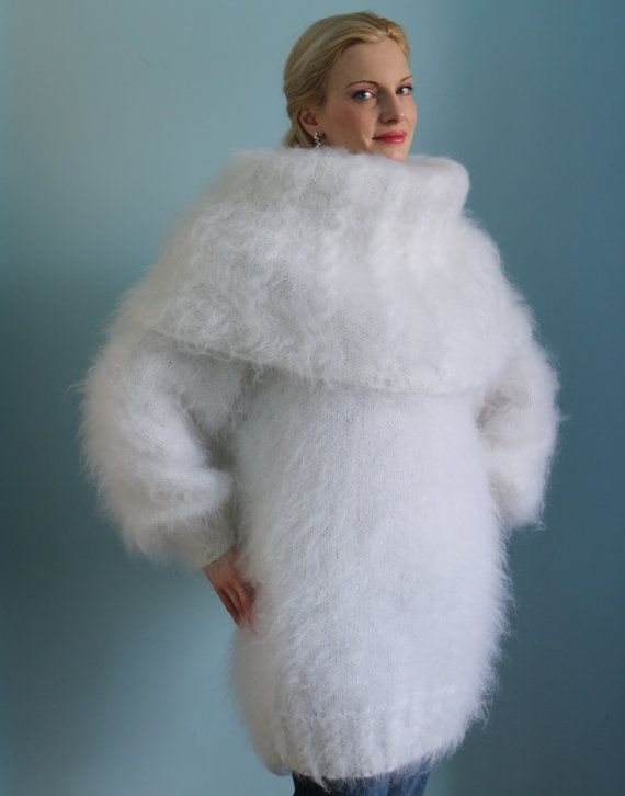 Gorgeous thick and fuzzy hand knitted mohair cowlneck sweater ...