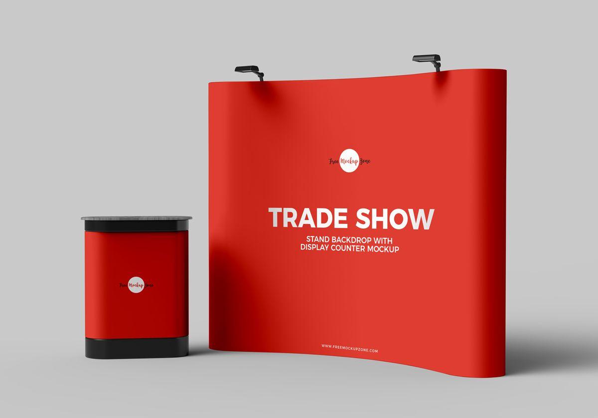 Free Trade Show Banner Stand Backdrop With Display Counter Mockup Psd Tradeshow Banner Free Mockup Mockup Free Psd