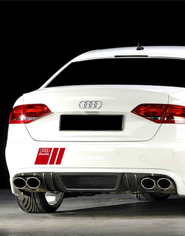 Powered by Audi Racing Sport S Line Decal sticker emblem logo RED Pair