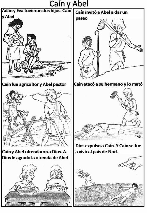 Cain y Abel para colorear ... | Dios | Cain y abel, Escuela ...