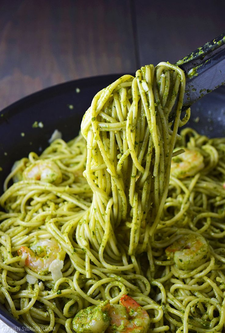 Shrimp Pesto Pasta Recipe Pesto Pasta Recipes Pesto Shrimp