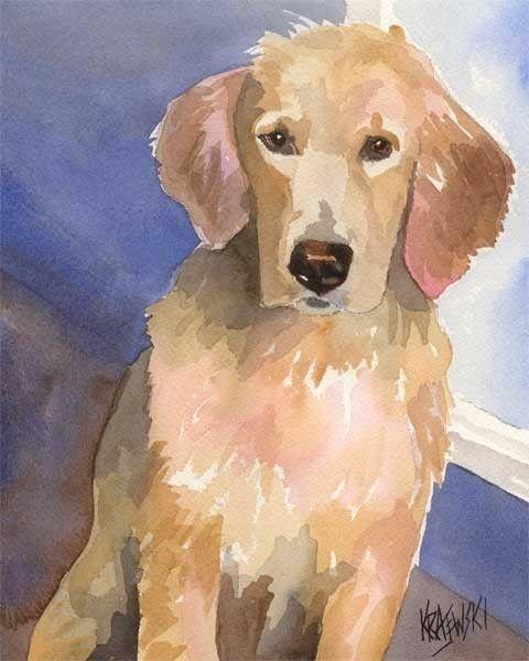 Golden Retriever Watercolor Art Print Of Original Painting Dog