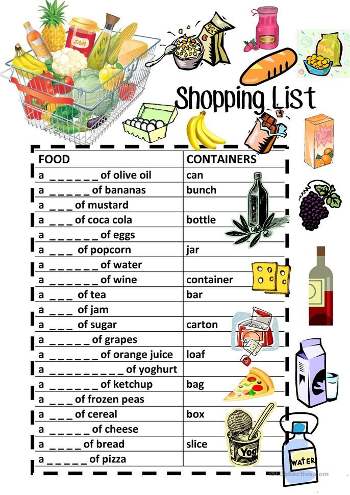 food containers shopping list fill in review school english language learning english food. Black Bedroom Furniture Sets. Home Design Ideas