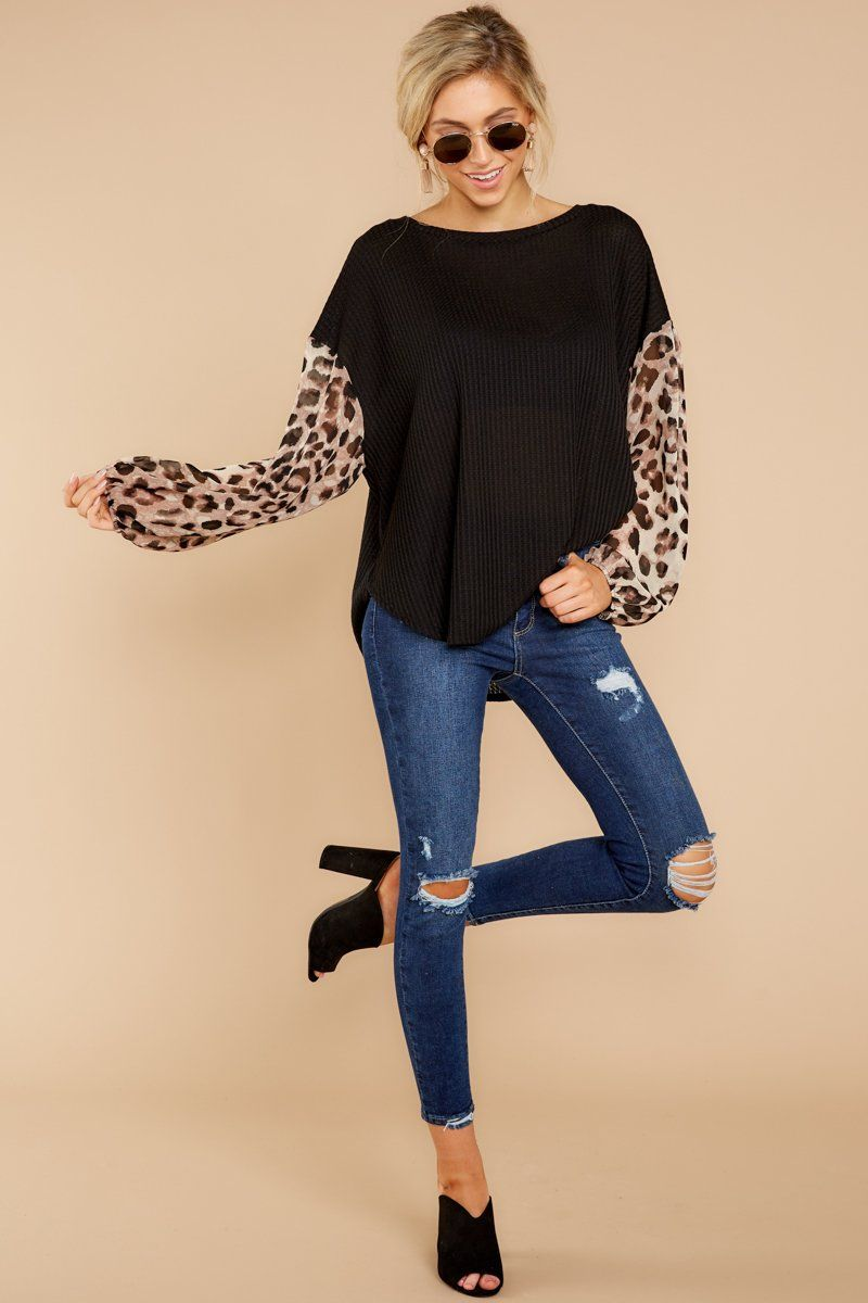 851e2b92a5 Feisty Black Cheetah Print Top - Contrast Sleeve Shirt - Top -  42.00 – Red  Dress Boutique