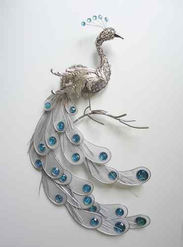 Fanciful Silver Peacock Wall Art Decor Metal Hanging Bird Feathers  Sculpture | EBay