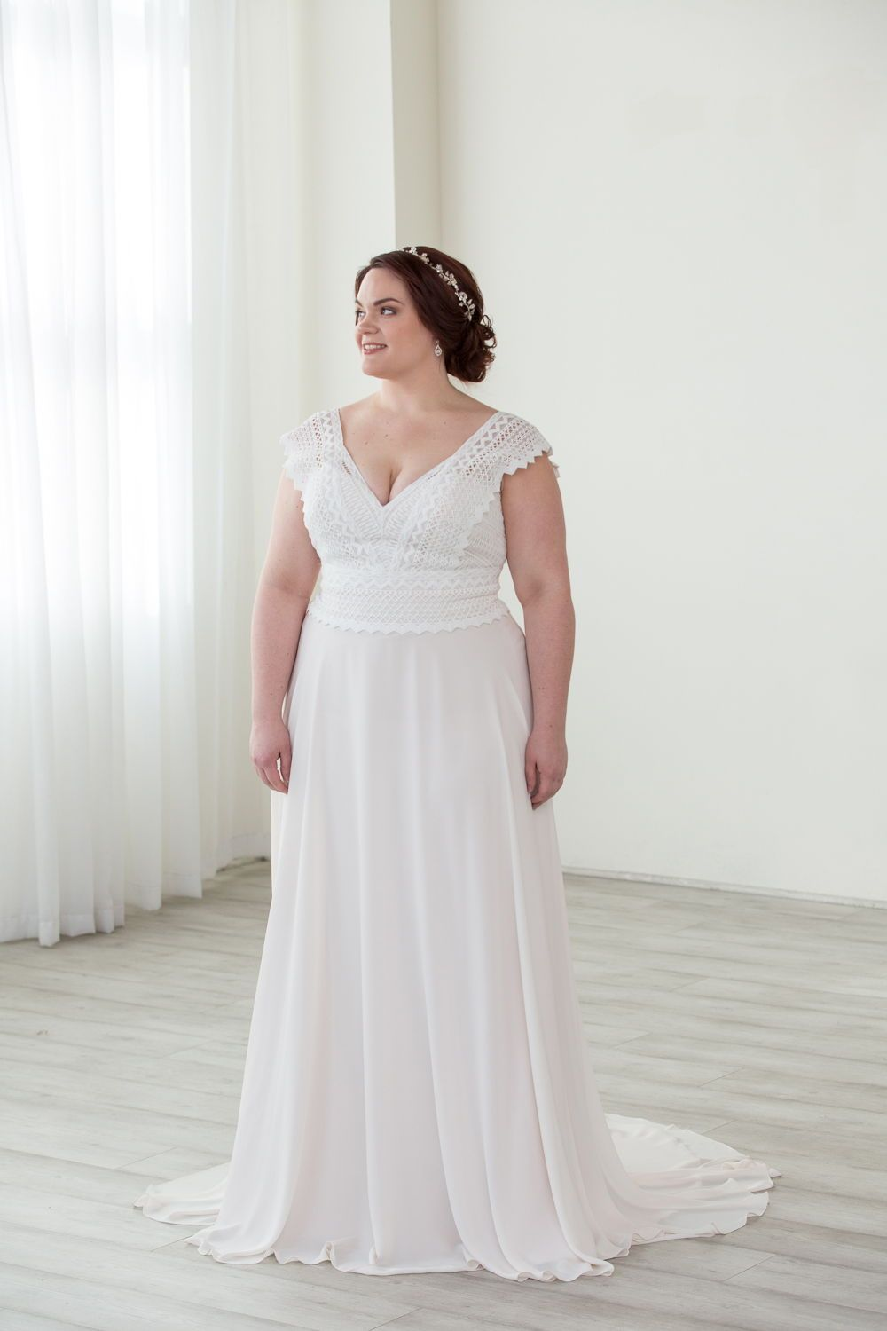 A Line Wedding Dress Chiffon Skirt And Lace Details On Top Lillian West Boho Vibes In Th Plus Size Wedding Gowns A Line Wedding Dress Plus Size Blush Dress [ 1500 x 1000 Pixel ]