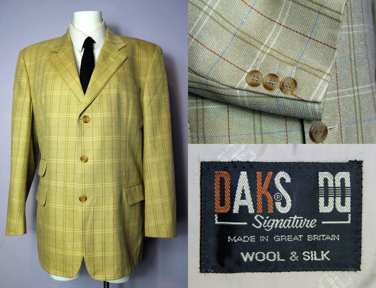 diversificato nella confezione Sito ufficiale scarpe temperamento DAKS Signature Beige Windowpane Fitted Wool Silk Blend ...