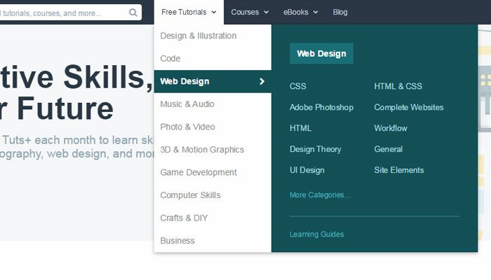 Design Patterns For Mega Navigation Dropdown Menus Web Design