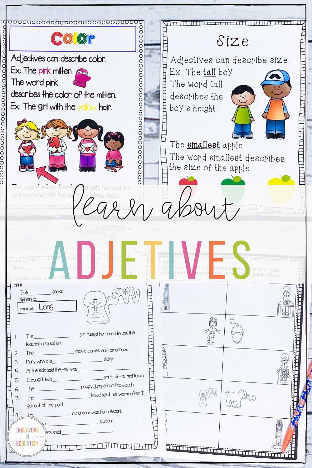 Adjective Worksheets and Activities   Adjectives [ 1500 x 1000 Pixel ]