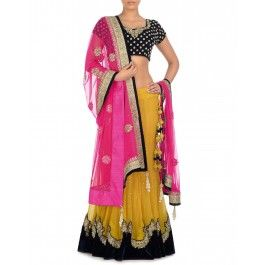Black and Yellow Lengha Set with Embellished Pink Dupatta