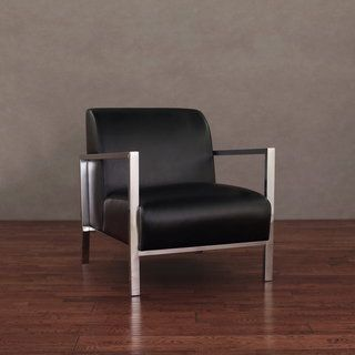 Modena Modern Black Leather Accent Chair | Overstock.com Shopping ...