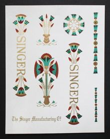 Singer Model 66 Sewing Machine Lotus Style Restoration Decals Multi Color Antiques