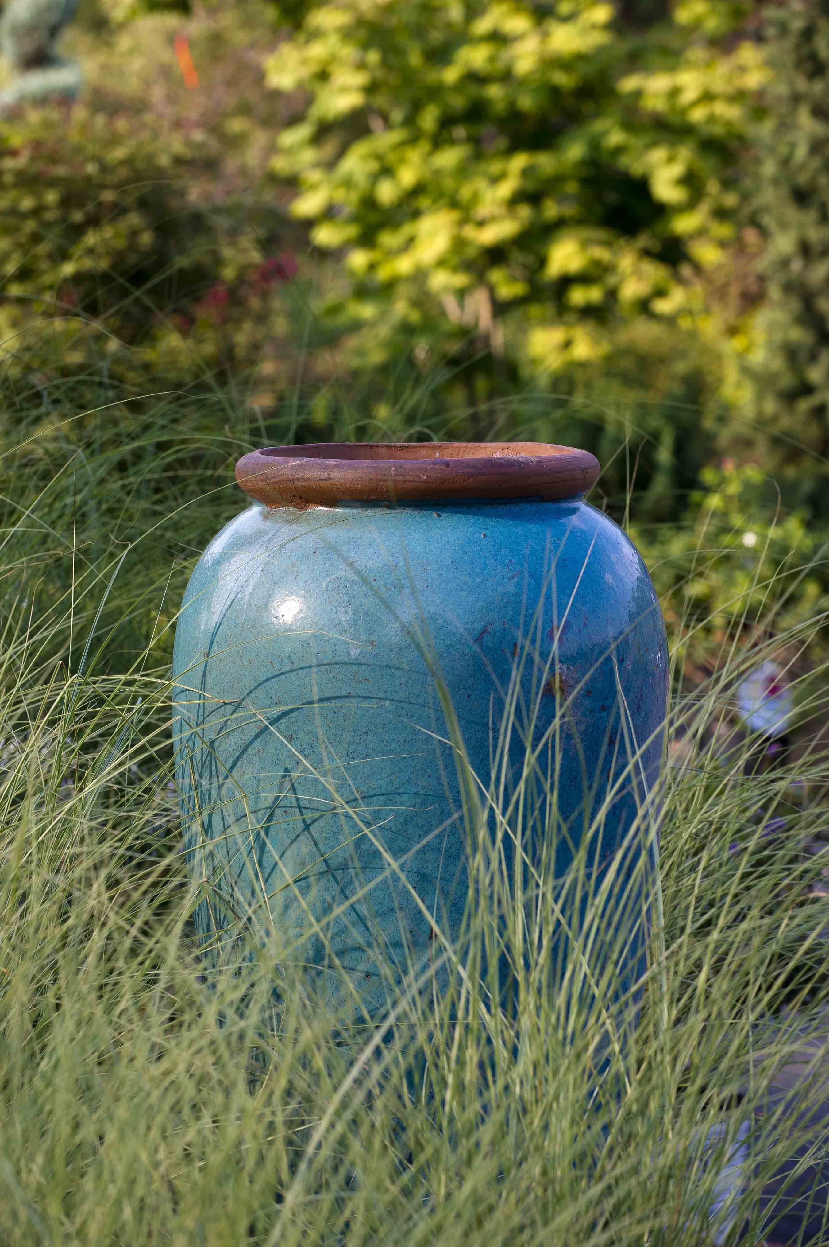 Blue Rustic Jar And Grasses By Gasper
