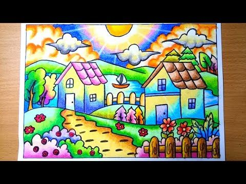 Cara Menggambar Pemandangan Alam Rumah Dan Danau Dengan Gradasi Crayon Oilpastel Drawing Scenery Youtube Cara Menggambar Pemandangan Drawing