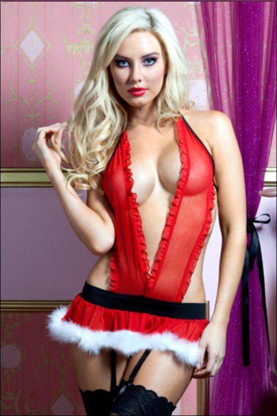 76a56e8e66 wholesale Retail Fancy Red Sexy christmas costume dress sheer lingerie for  women santa on 80swomen.com.  12.16