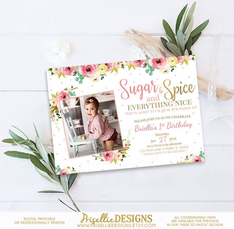 Sugar and Spice Birthday Invitation, Sugar and Spice and Everything ...