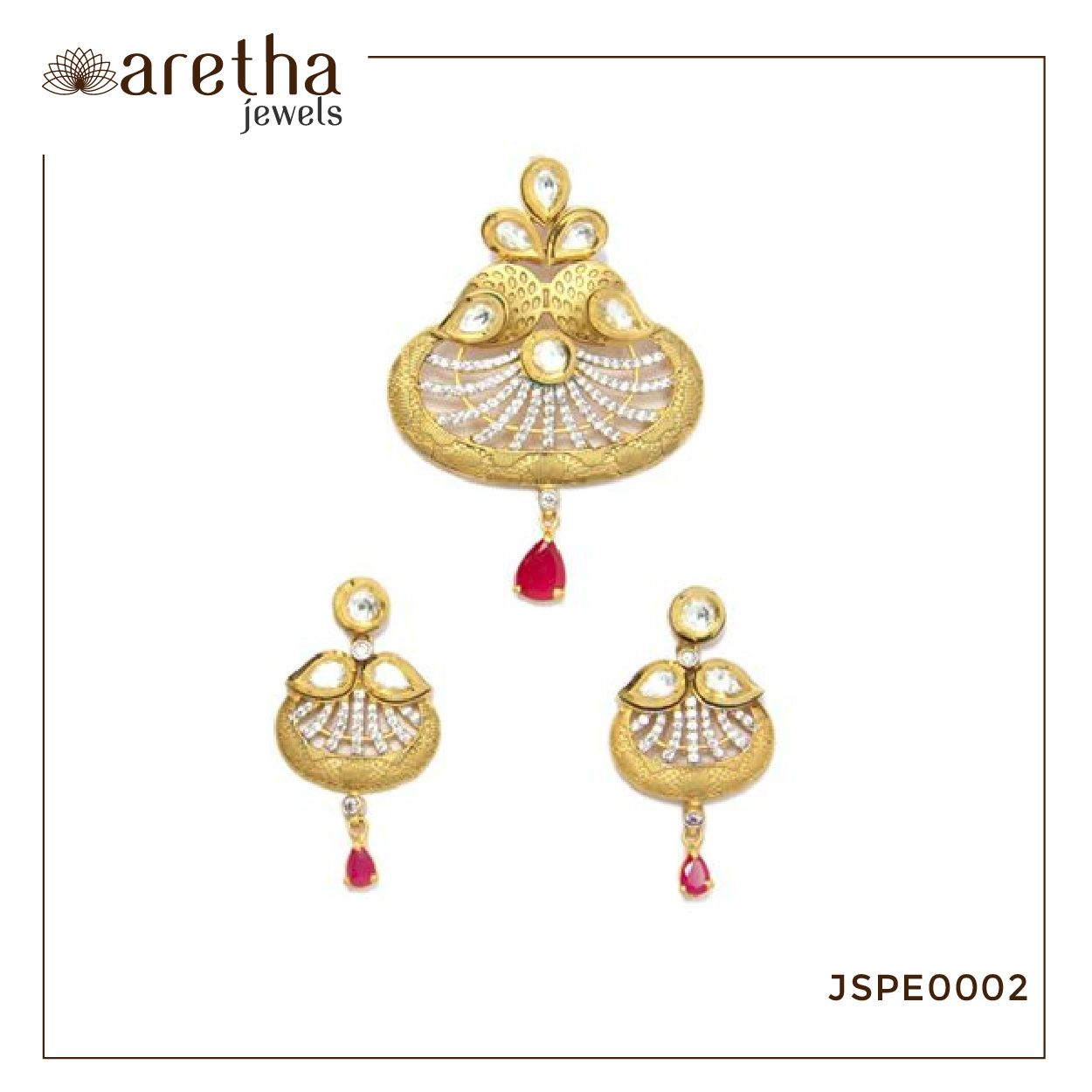 Bedecked with glinting white and red stones this captivating