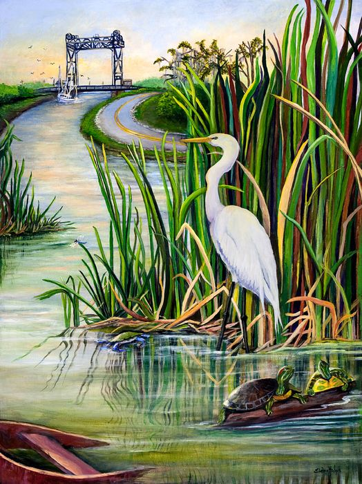 Louisiana Wetlands by Elaine Hodges - Louisiana Wetlands Painting -  Louisiana Wetlands Fine Art Prints and Posters for Sale