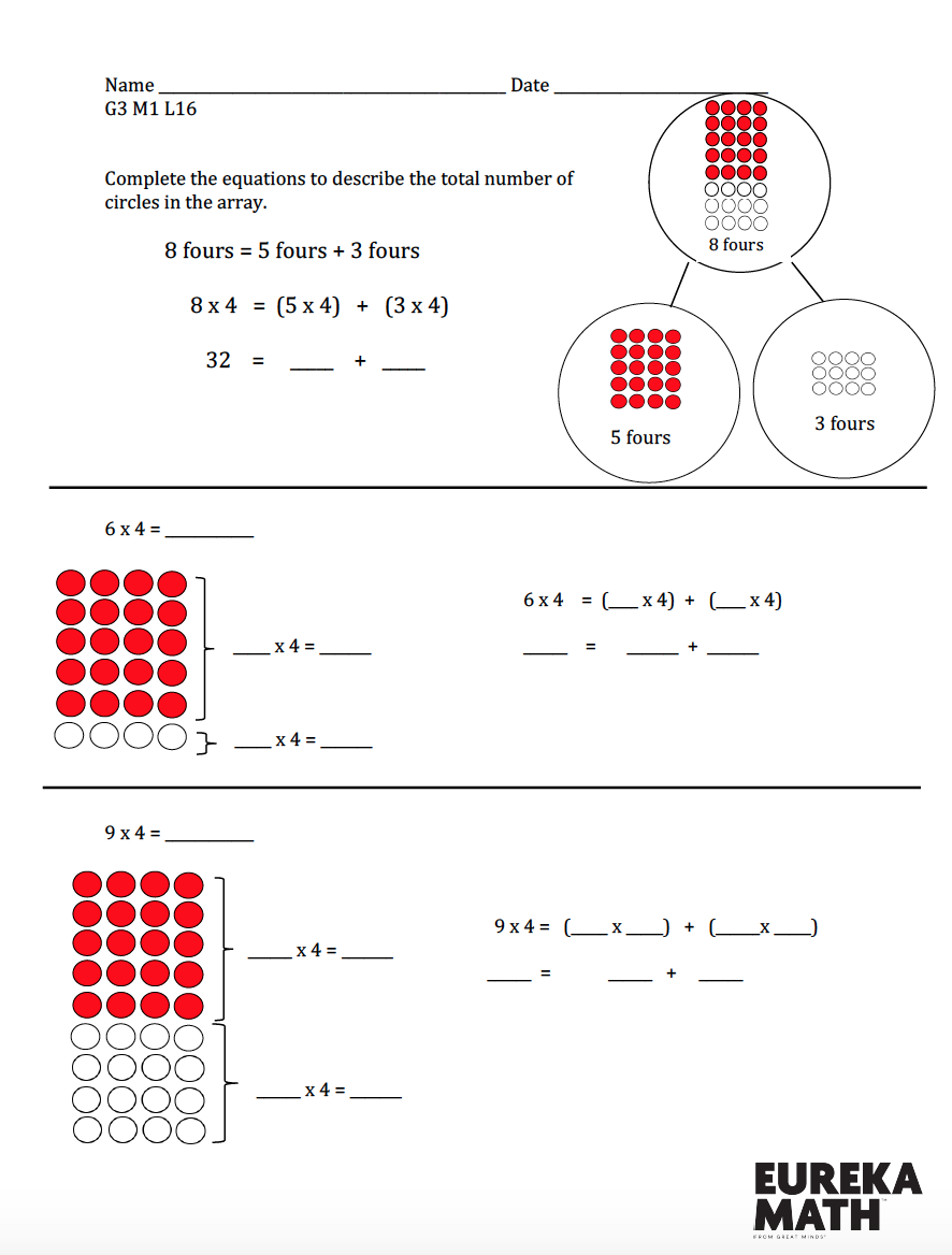 Grade 3 Module 1 Lesson 16 Morning Work Remediation Eureka Math Math Worksheets Math [ 1168 x 886 Pixel ]
