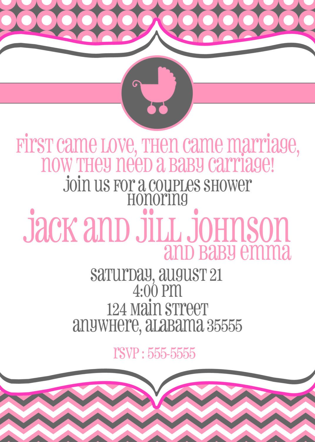 Couples Baby Shower, Sprinkle, or Sip and See Invitation -- Baby ...