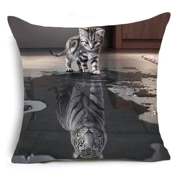 Cojines Tiger.Hyha Trippy Cat Polyester Cushion Cover Gentlemen Pop Art Creative
