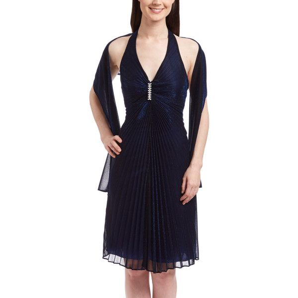 ASpeed Navy Pleated Halter Dress Set ($33) ❤ liked on Polyvore featuring dresses, pleated dress, blue dress, blue pleated dress, navy blue long dress and halter neck dress