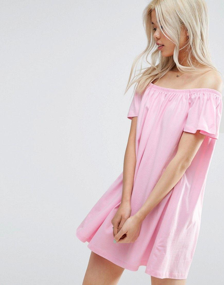 Pink Off Shoulder Mini Dress | Dress | Pinterest | Vestiditos ...