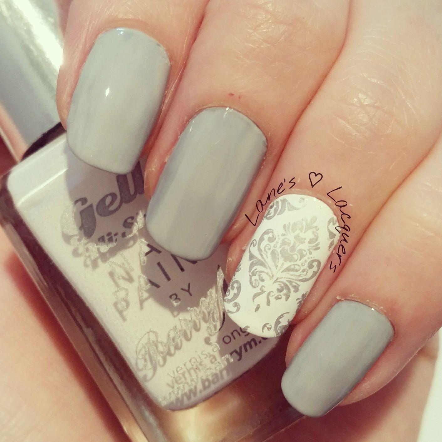 diy-inspired-grey-white-silver-floral-nail-art (3) | nails | Pinterest