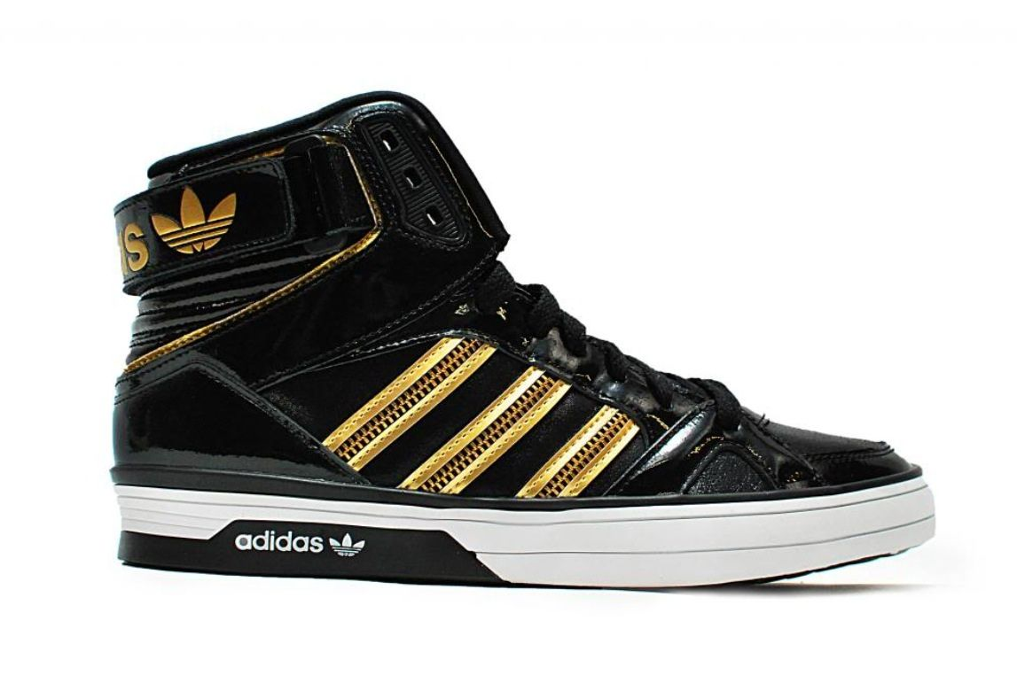 Gold and black Adidas high tops  fe6dd0612