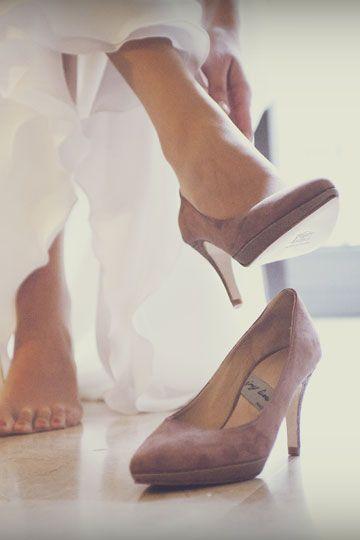 zapatos #novia #color #rosa palo #ante y #piel en #plataforma #heels
