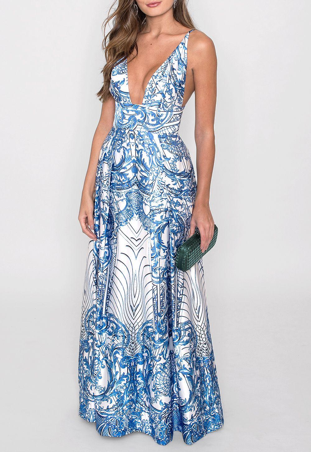 3ce60dd0cf Vestido longo estampado em cetim encorpado com modelagem princesa. Possui  pala embaixo do busto e