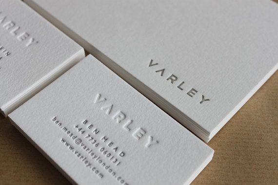 Hand Printed Letterpress Business Cards In A Choice Of Styles On Luxurious Cotton Card Stock Colour Pure White Mapletea Via Etsy