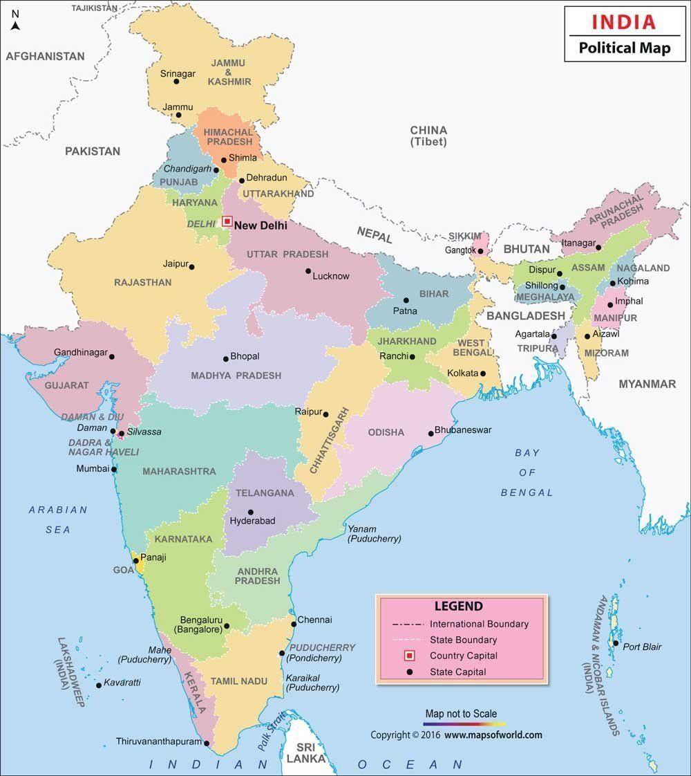 India Political Map 48 H X 39 92 W Vinyl Print Wall Chart 2017
